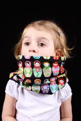 snood enfant noir motif matriochka
