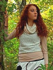 Pull maille crochet beige