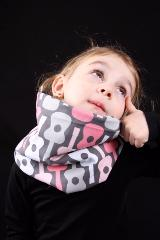 snood enfant gris et rose guitare