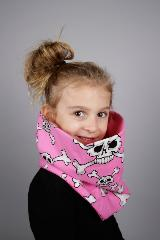 snood enfant rose tete de mort