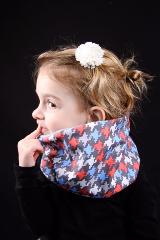 snood enfant pied de poule gris rouge