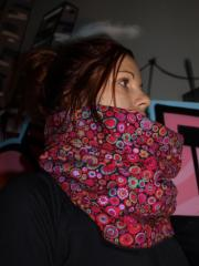 snood pois ton rose