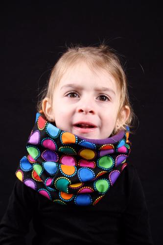 snood enfant noir rond multicolore