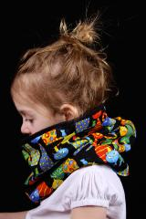 snood enfant noir motif chats
